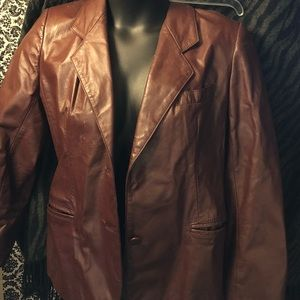 Jackets & Blazers - All genuine leather brown taupe button up